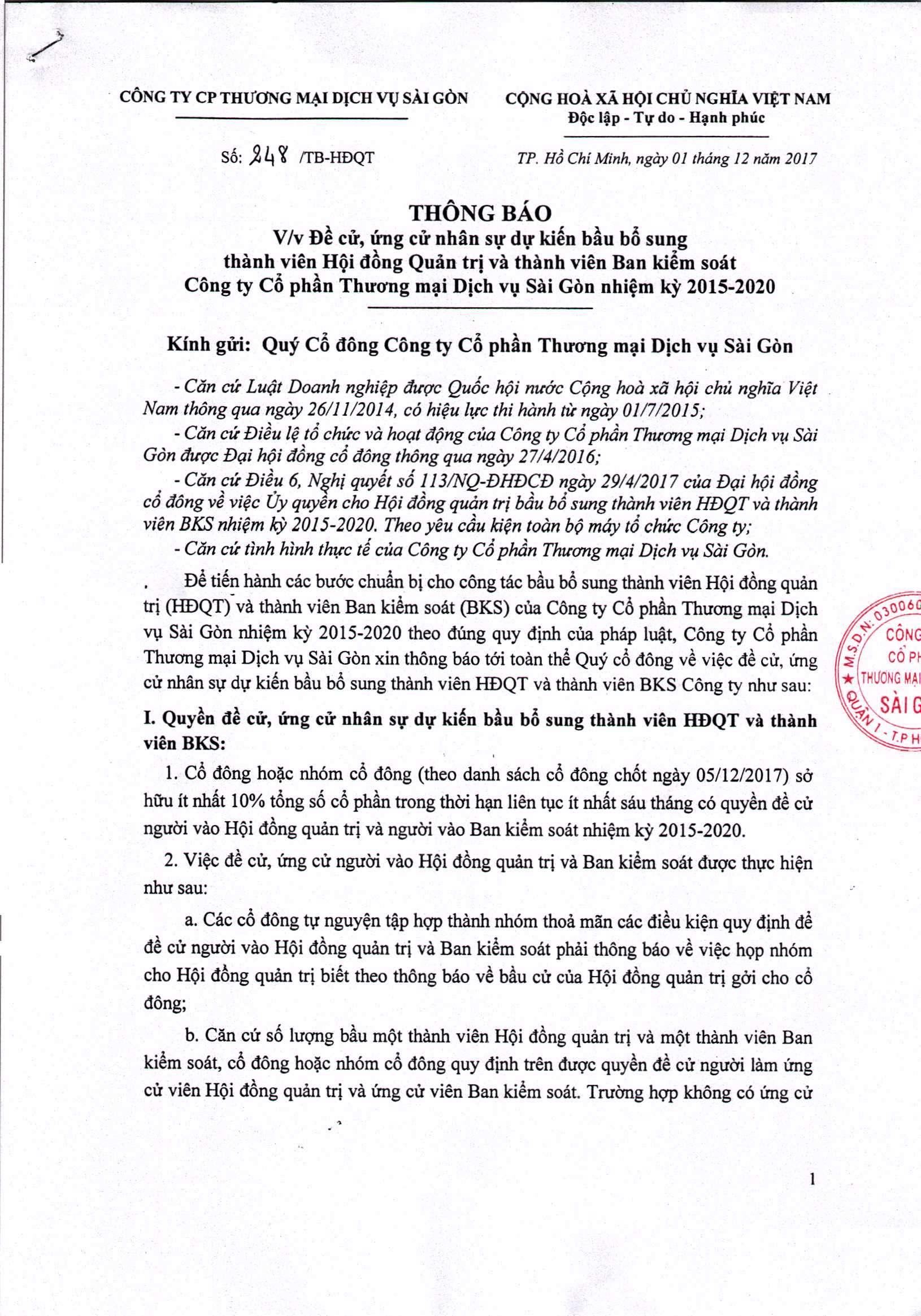 thông báo vv đề cử, ứng cử nhan sự dự kiến bầu bổ sung TV HĐQT và TV BKS 1