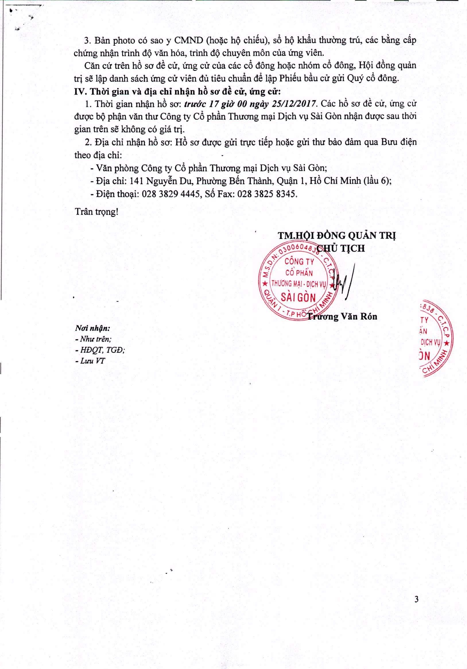 thông báo vv đề cử, ứng cử nhan sự dự kiến bầu bổ sung TV HĐQT và TV BKS 3