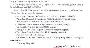 Thông báo chốt danh sách cổ đông Công ty CPTMDV Sài Gòn (1)