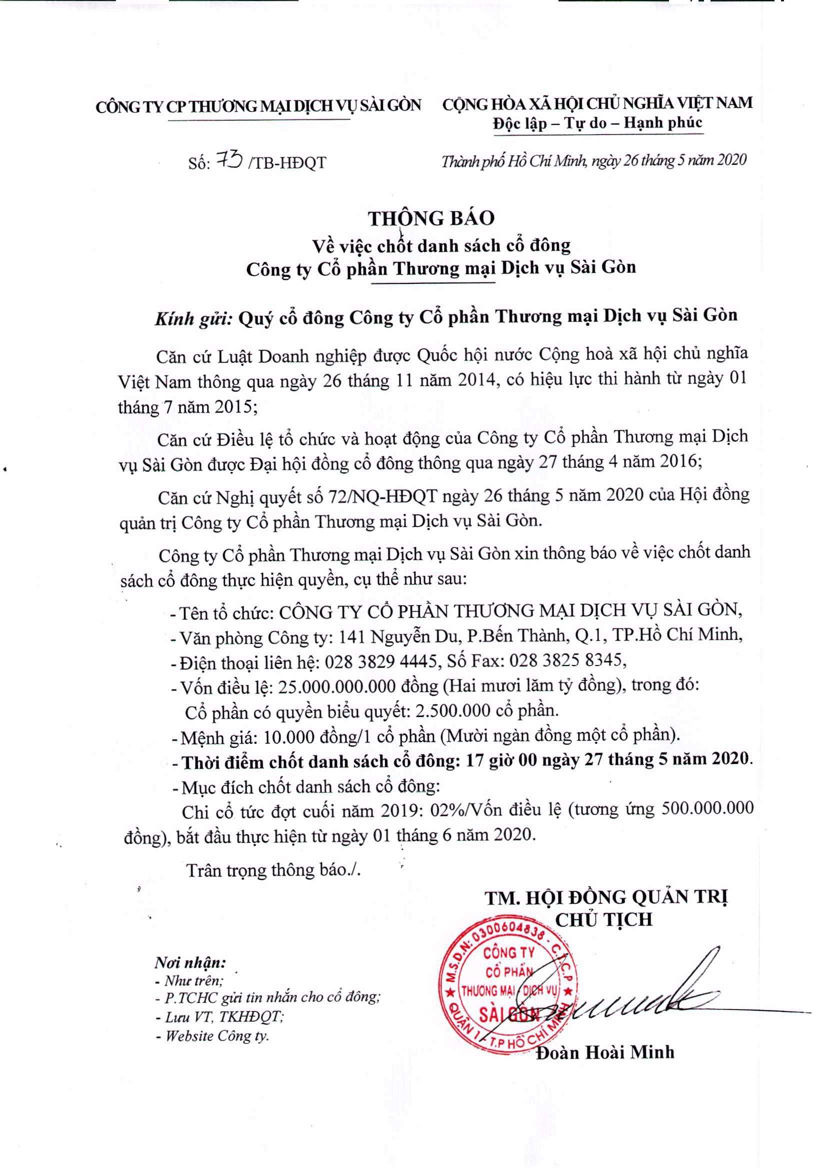 TB ve viec chot danh sach co dong ngsy 27-5-2020