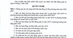 Nghị quyết HĐQT về nội dung tổ chức ĐHĐCĐ năm 2020 (1)