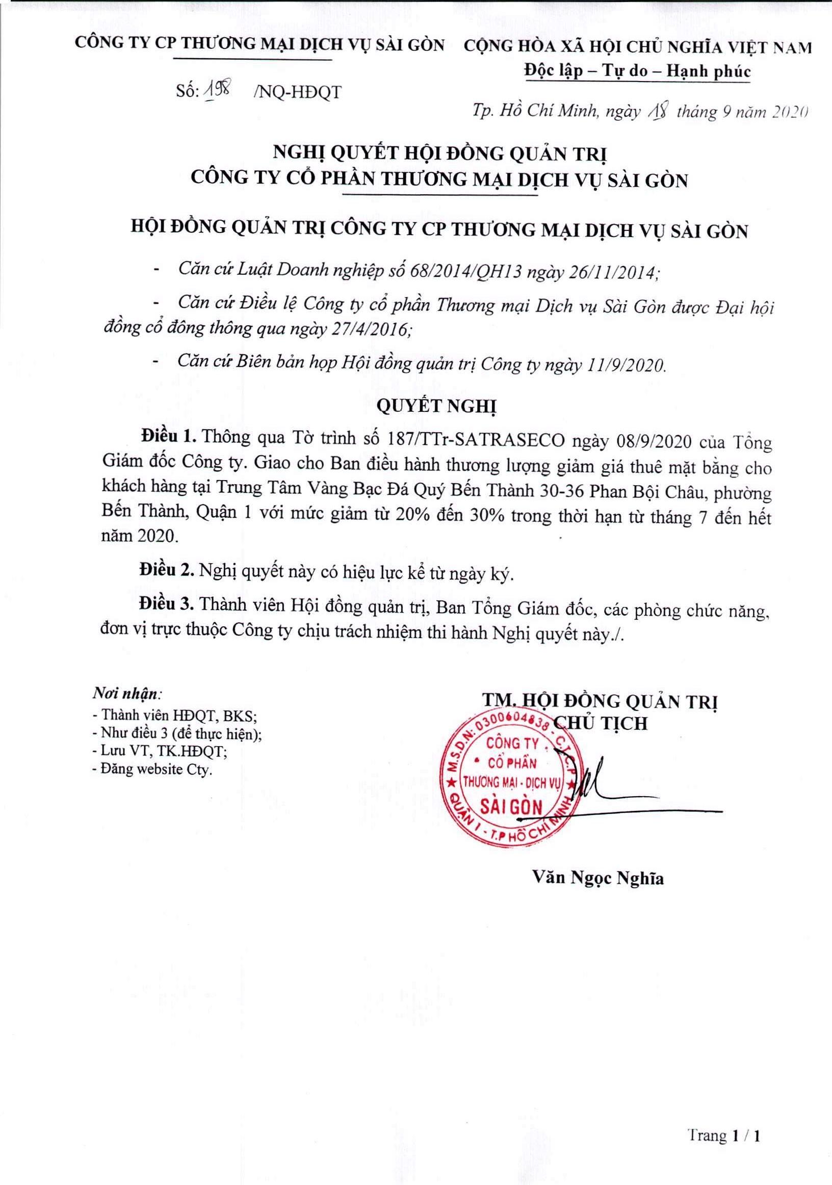 Nghị quyết 198-NQ-HĐQT ngày 18-9-2020