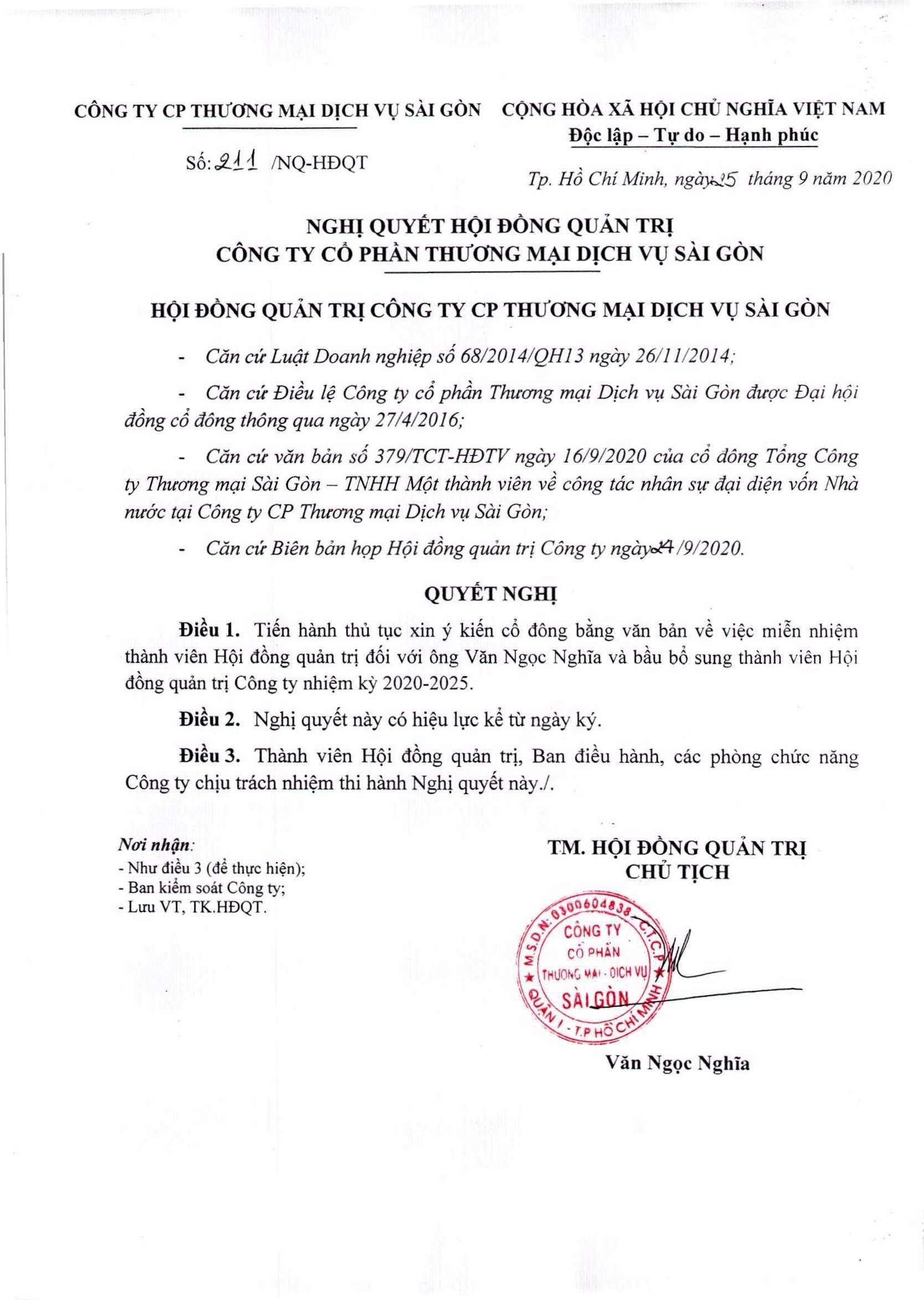 Nghị quyết 211-NQ-HĐQT ngày 25-9-2020