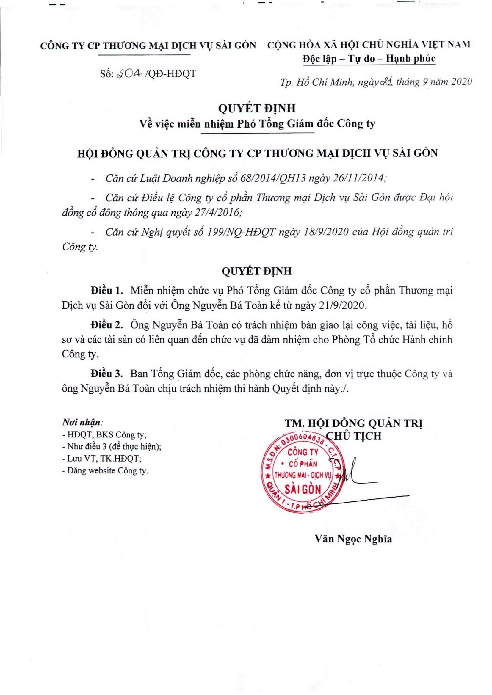 Quyết định 204-QĐ-HĐQT ngày 21-9-2020
