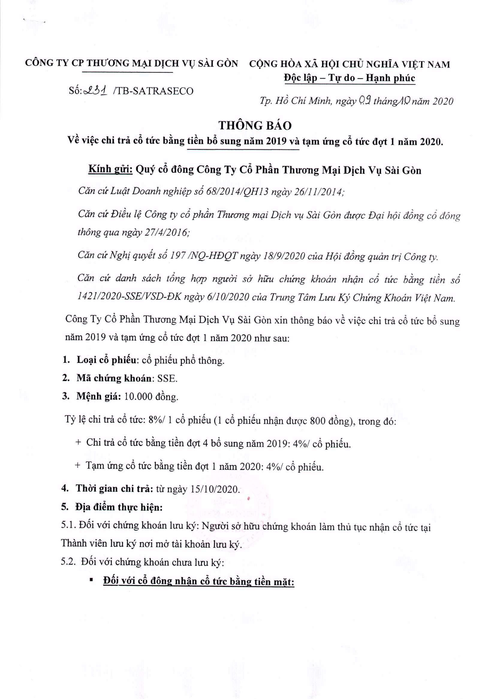 Thông báo vv chi trả cổ tức bằng tiền bổ sung năm 2019 và tạm ứng cổ tức đợt 1 năm 2020 (01)