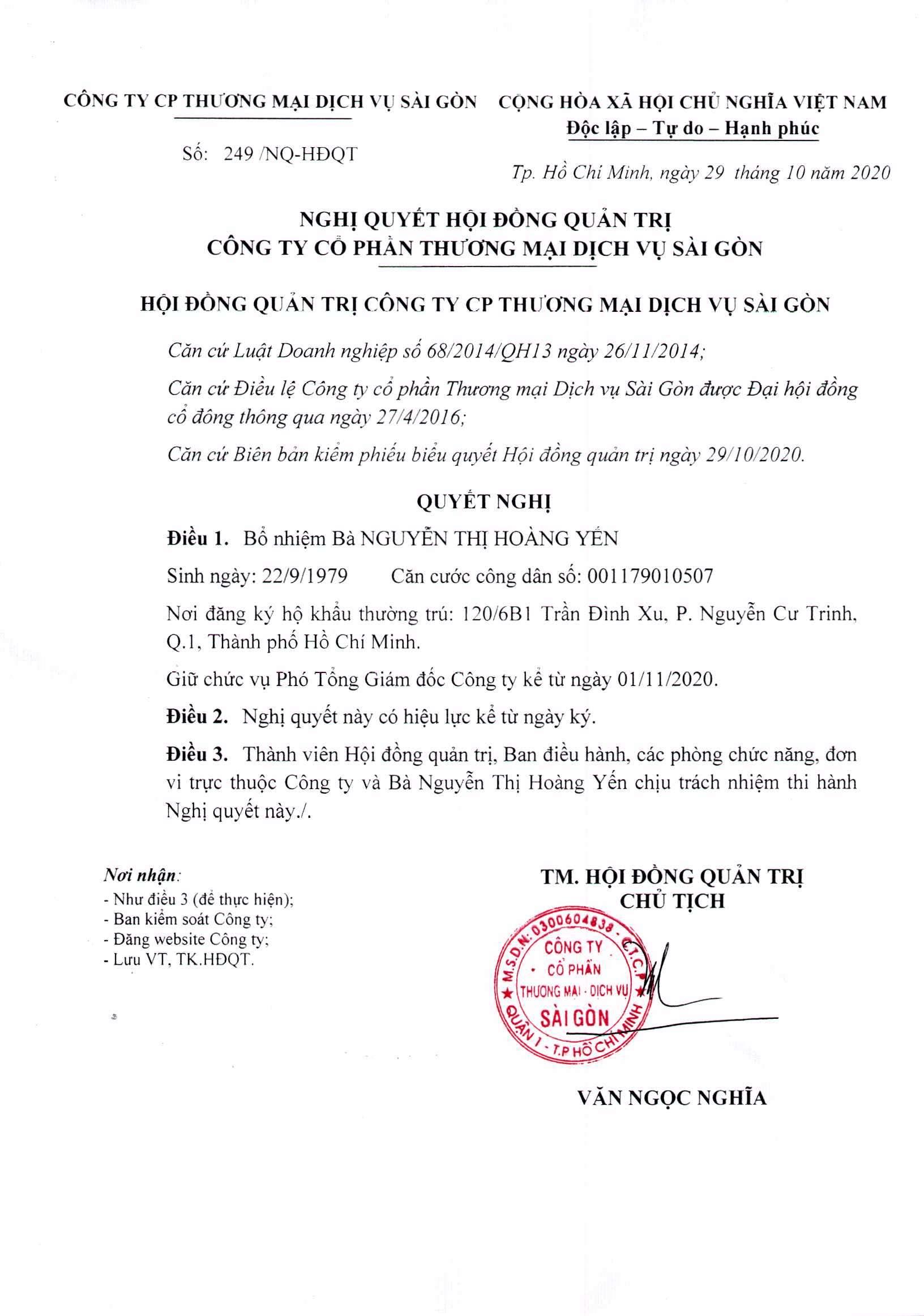 Nghị quyết 249-NQ-HĐQT ngày 29-10-2020