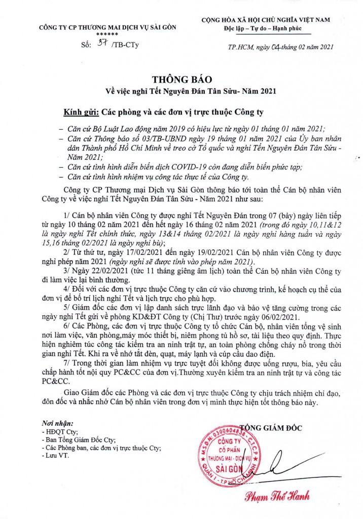 Thông báo về việc nghỉ Tết Nguyên Đán Tân Sửu - năm 2021 (1)