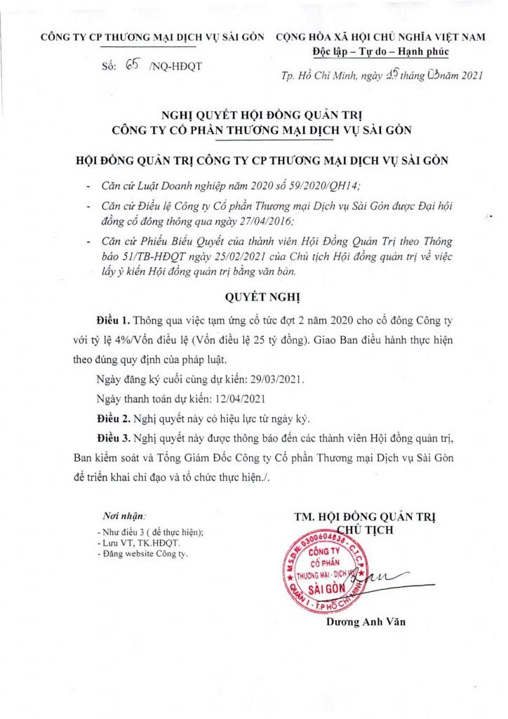 Nghị quyết 65-NQ-HĐQT ngày 15-03-2021